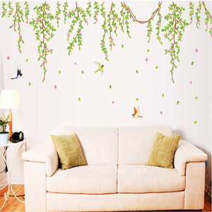BIG Green Leaves Pink Flowers Birds Decal Vinyl Wall Stickers PVC Decor Removable DIY Home Art Wallpaper Room House Sticker