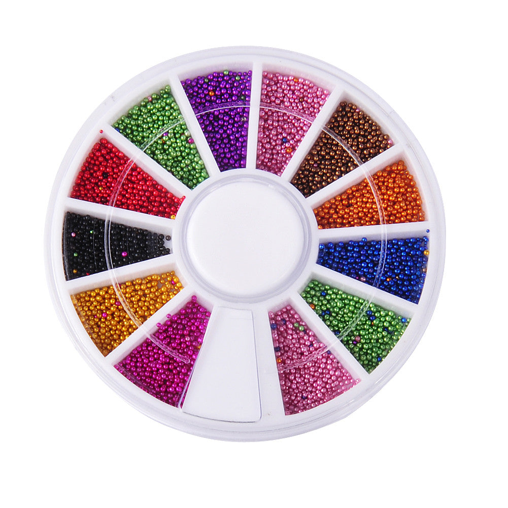Biutee Nail 12 Color Steels Beads Studs For Nails Metal Caviar Design Wheel Charms 3D Decorations Nail Art Supplies