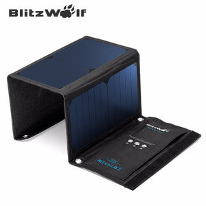 BlitzWolf Newest 20W 3A Portable Solar Cell Power Bank Foldable Powerbank USB Solar Panel Charger With Power3S SunPower