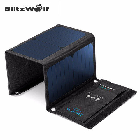 BlitzWolf Portable New Solar Power Bank 20W 3A Foldable Portable Powerbank Cell USB Solar Panel Charger with Power3S SunPower