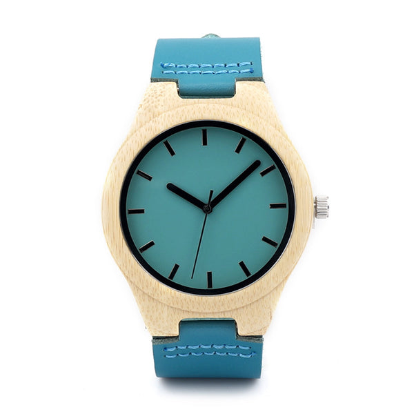 Bobo Bird Leather Quartz Bamboo Quartz Wristwatches Men F20
