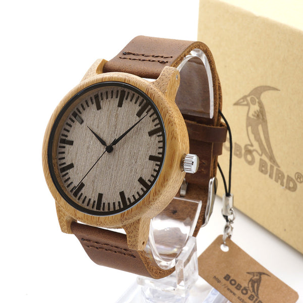 Bobo Bird Leather Quartz Wooden Quartz Wristwatches Men A16