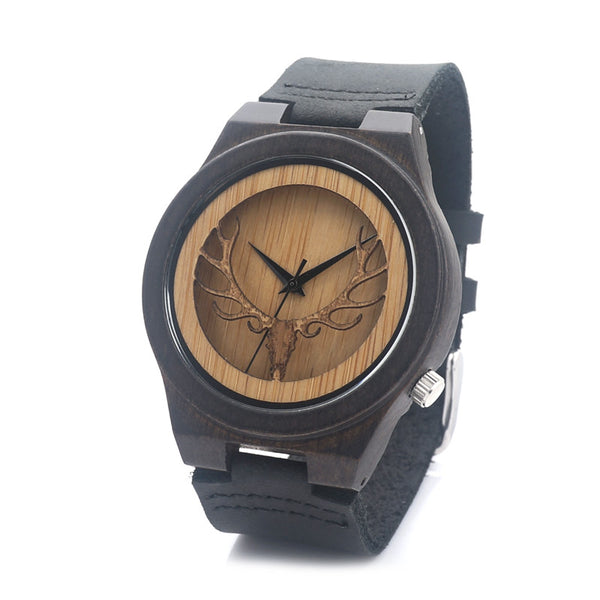 Bobo Bird Leather Quartz Wooden Quartz Wristwatches Men B1-lhlt2