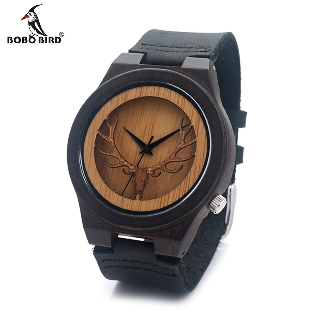 Bobo Bird Leather Quartz Wooden Quartz Wristwatches Men Bb0012