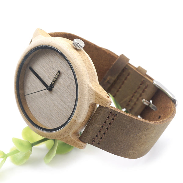 Bobo Bird Leather Quartz Wooden Quartz Wristwatches Men Bba22