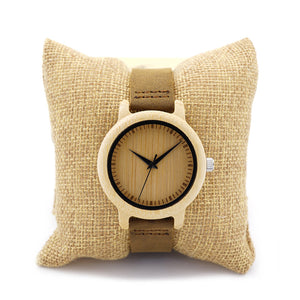 Bobo Bird Leather Quartz Wooden Quartz Wristwatches Women A10