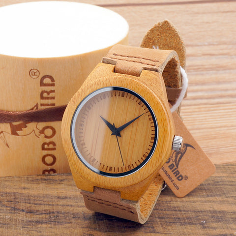Bobo Bird Leather Quartz Wooden Quartz Wristwatches Women Rt-026