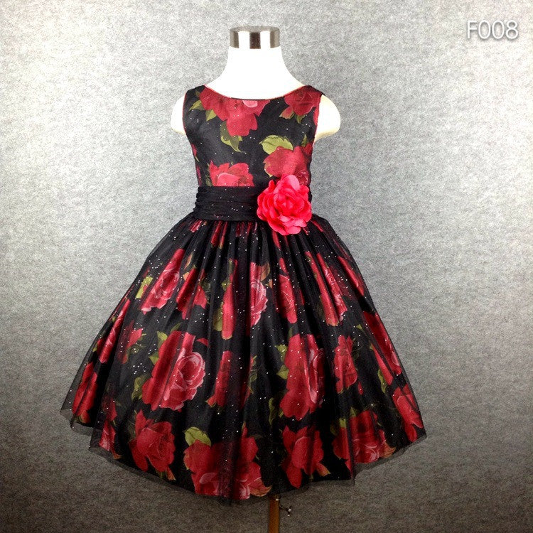 Brand Girl Party Dress Black Tutu Flower Print BIg Bow Summer Dress For Girls 4-16 Hot