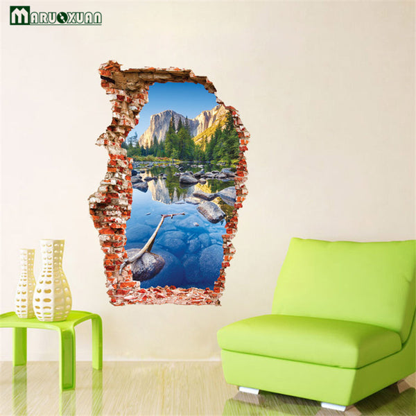 Broken Wall 3D Wall Stickers Wucaichi Colorful Pond Mountain Scenery Wall Stickers The Door Stick a New Start