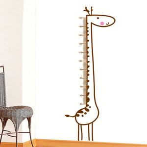 Brown Giraffe Height Measure Chart Vinyl Removable Home Decor Kids Child Room Nursery Door DIY Wall Poster Stickers Decal Mural