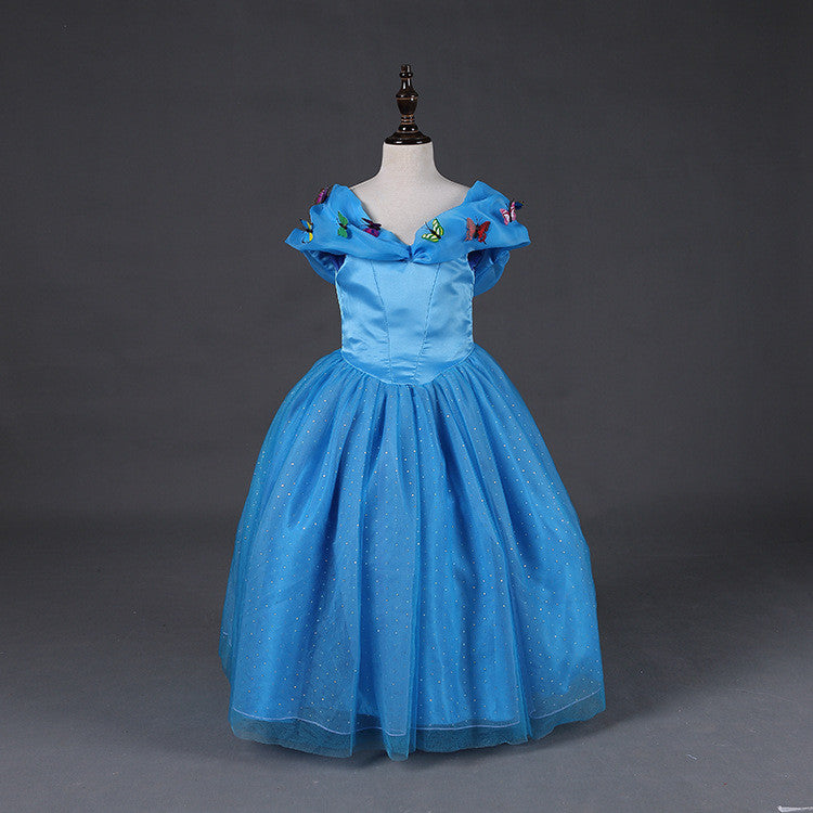 Cinderella Princess Character Dress Child 3t 4t 5 6 7: Butterfly Girls Blue Princess Dresses Pageant Girls