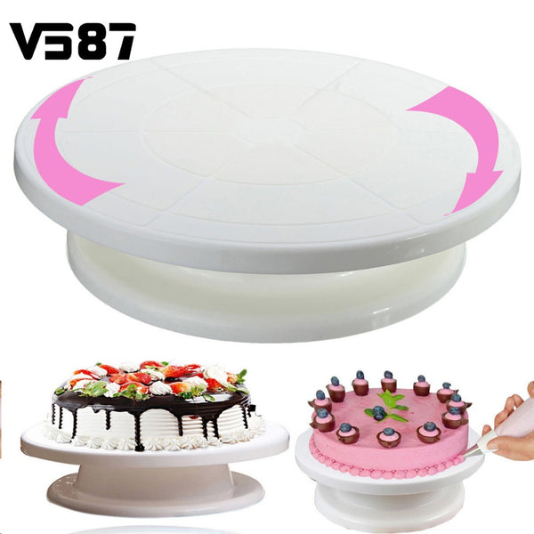 "Cake Decorating Rotating Revolving Icing Turntable Stand Shelf Kitchen Bakeware Cake Cupcake Display Tools 11""28cm"
