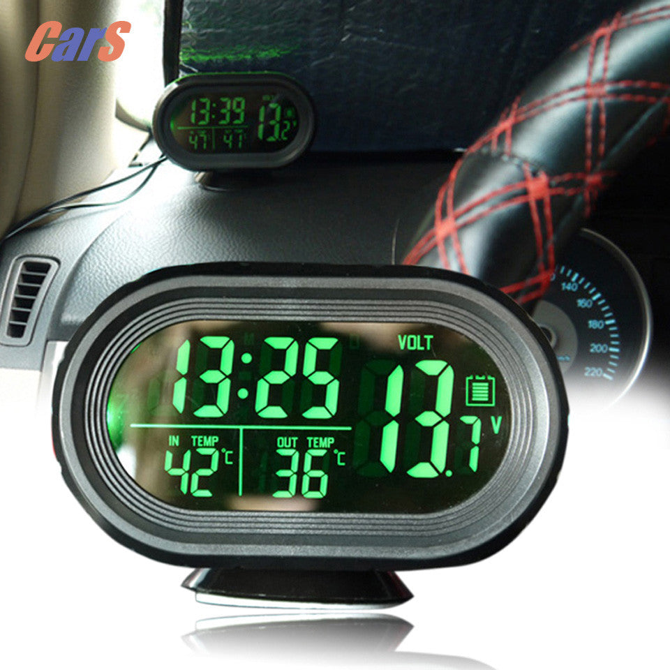 Car Voltage Monitor Car Clock Thermometer Digital Backlight Snooze