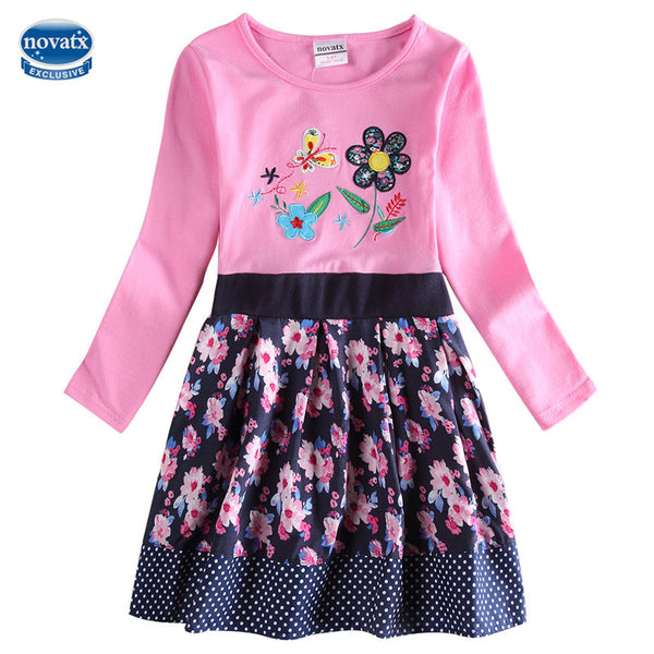 cartoon kids Girls dress 2-6T nova kids wear children's clothing long sleeves baby kids casual fashion hot selling child frocks