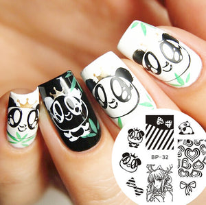 Cartoon Lovely Panda Nail Art Stamp Template Image Plate BORN PRETTY BP32