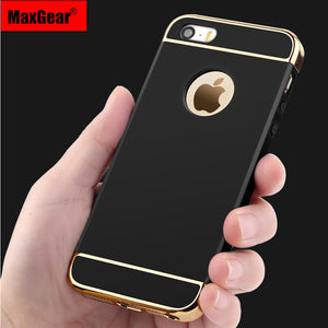 Case For Apple iPhone 5 5S SE 6 6S Plus Luxury Ultra Thin 3in1 Electroplate Shockproof Mobile Phone Case Back Cover Bags