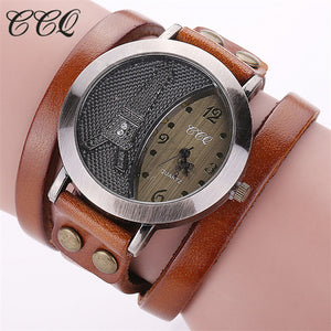 Ccq Leather Quartz Alloy Quartz Wristwatches Women 1292