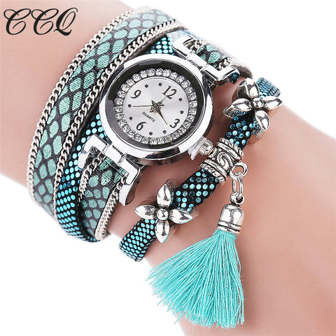 Ccq Leather Quartz Stainless Steel Quartz Wristwatches Women C75