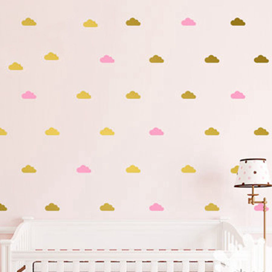 Cloud Wall Decals Kids room Decor Removable gold white cloud wall stickers Art mural
