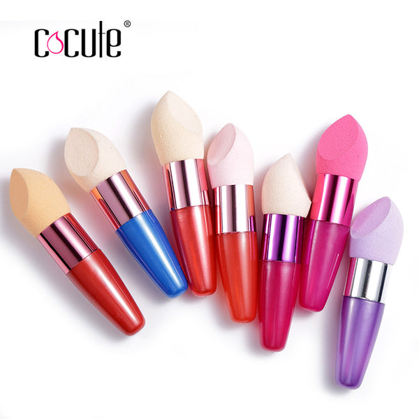 Cocute Girl gift 1pc Makeup Foundation Sponge with handle Cosmetic Puff Flawless Powder Smooth Water Drop Puff Beauty