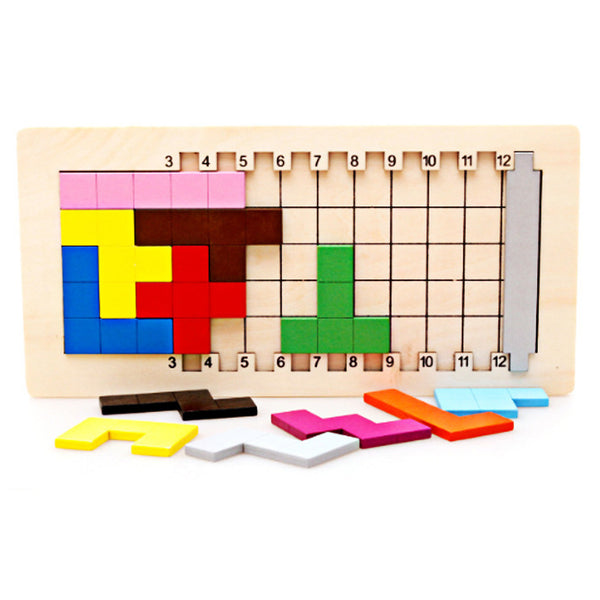 Colorful Wooden Tangram Tetris Game Brain Teaser Puzzle Toys Preschool Magination Educational Kid Toy Children Gift