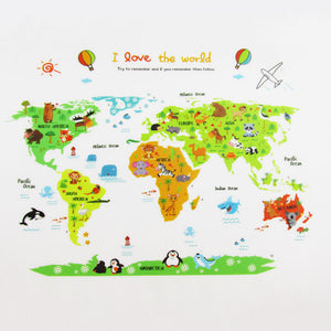 Colorful World Map Wall Sticker Decal Vinyl Animal Cartoon Wall Stickers For Kids Rooms Nursery Home Decor Children Art Poster