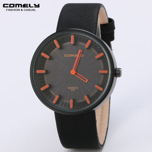Comely Leather Quartz Stainless Steel Quartz Wristwatches Women C633