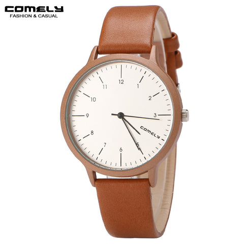 Comely Leather Quartz Stainless Steel Quartz Wristwatches Women C733