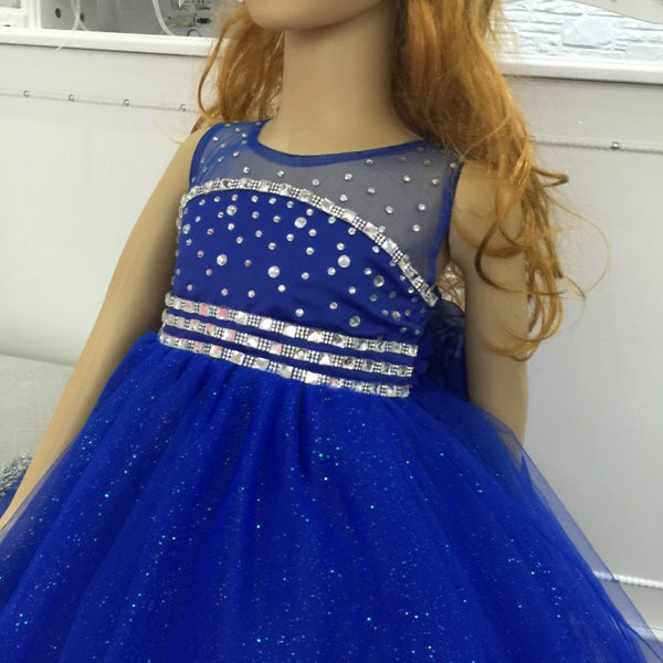 Cotton Lining 2- 12 Years Girl Party Dress 2016 New Tulle Flower Girl Dresses Stone Royal Blue kids evening Gown With Bustle