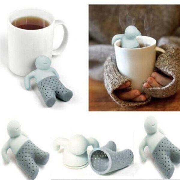 Crazy Hot Mr.Tea Leaf Strainer Filter Silicone Herbal Spice Infuser Diffuser Cute Gift over $7 ship with free registered mail