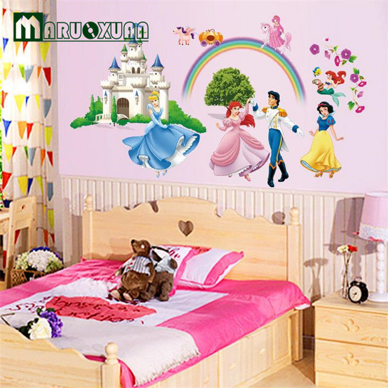 Creative Cartoon Vinyl Wall Stickers For Kids Rooms Girls Home Decor Princess Castle Living Room Wall Decals Home Decoration