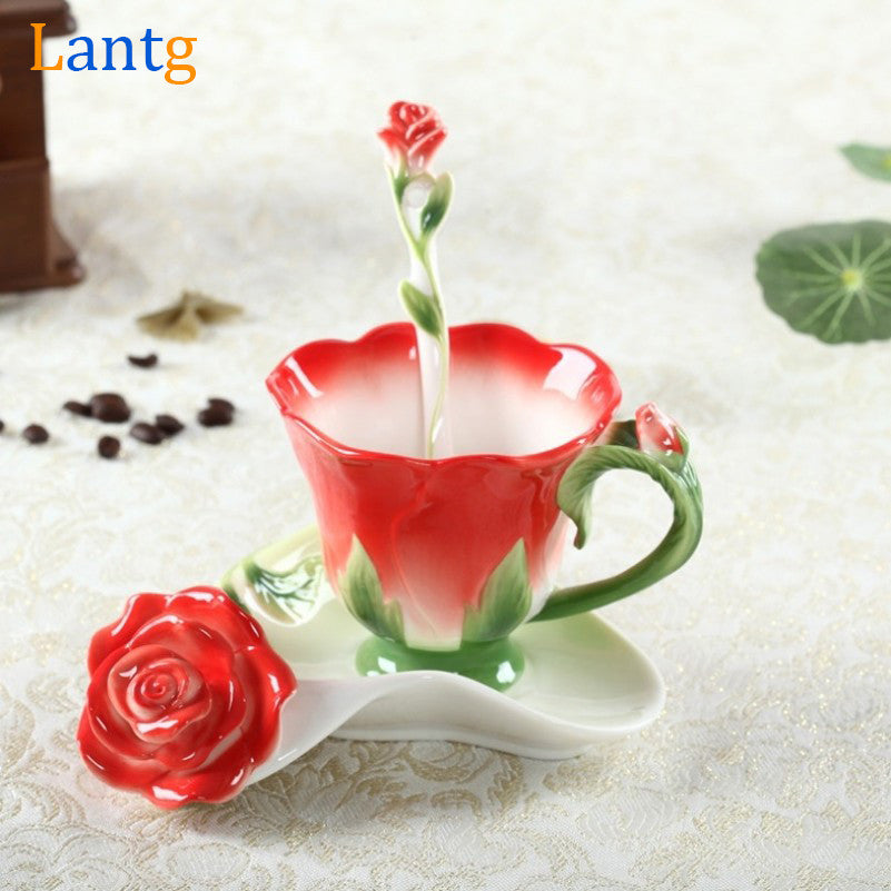 Creative Rose Flower Coffee Cup Chinese Ceramic Tea and Coffee Cups Set 1pc Bone Mug With 1pc Saucer and 1pc Spoon marriage gift