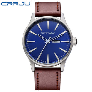 Crrju Leather Quartz Stainless Steel Quartz Wristwatches Men Crrju-2108