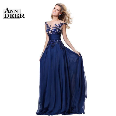 D111 Real Photos 2017 Hot Sale A-Line Chiffon Appliques Royal Blue Long Prom Dresses Robe De Soiree