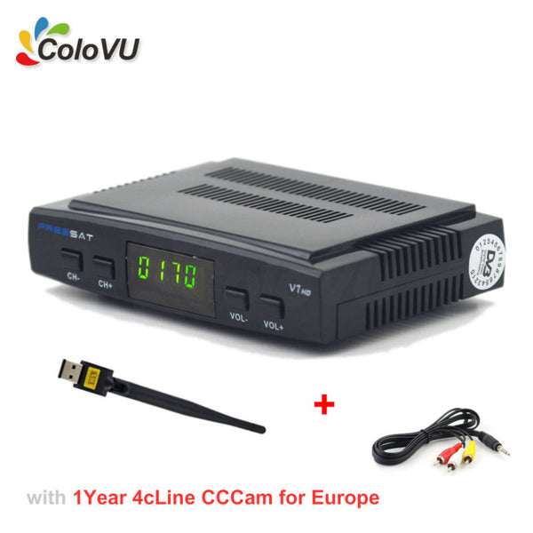 Digital Satellite TV Receiver Freesat V7 HD + Free 1Year 4cLine CCCAM + USB WiFi DVB-S S2 FTA Set Top Box support Biss Powervu