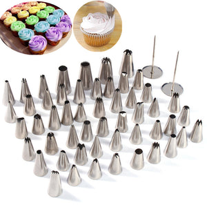 DIY 52Pcs Stainless Steel Icing Piping Nozzles Tool Pastry Cake Kitchen Baking Tools Sugarcraft Decorative Accessory