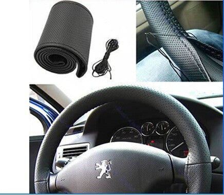DIY Car Steering Wheel Cover Faux Leather Hand Sewing with Needles and Thread