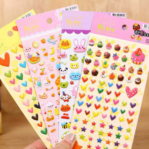 DIY Cute Kawaii Cartoon 3D Soft Sponge Bubble Animal Wall Stickers for Kids Diary Decoration Scrapbooking Free shipping 401
