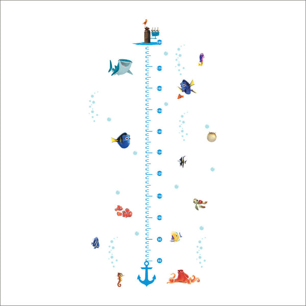 diy growth chart height measure wall sticker home decal Finding Nemo cartoon sea fish underwater world kids room nursery decor