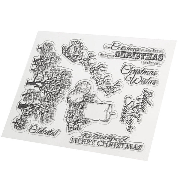 DIY Merry Christmas Candle Tree Transparent Clear Rubber Stamp Seal Paper Craft Photo Album Diary Scrapbooking Card Making Decor