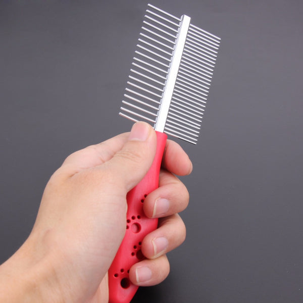 Dog Grooming Stainless Steel Anti-static Pets Hair Grooming Two-sized Dense Comb Tooth Slicker Brush For Dogs
