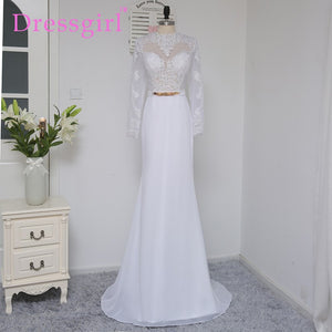 Dressgirl White 2017 Prom Dresses Mermaid Long Sleeves Open Back Long Lace Sash Sexy Prom Gown Evening Dresses Evening Gown