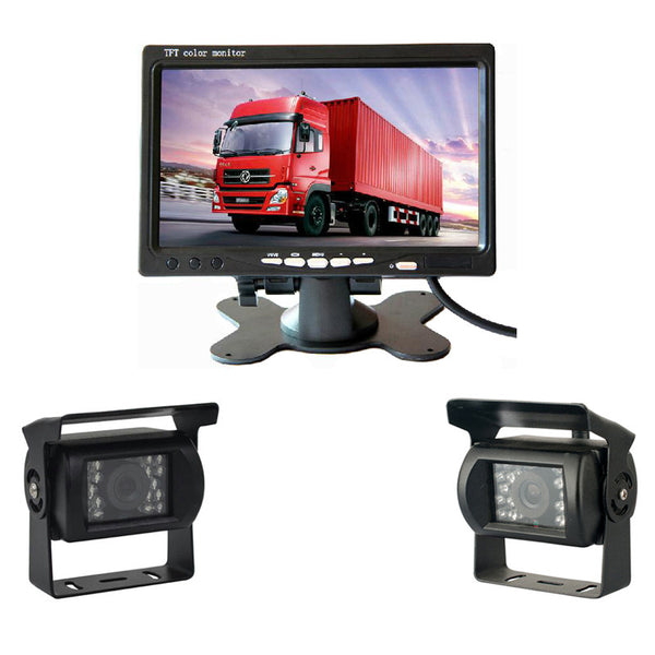 "Dual Backup Camera and Monitor Kit For Bus Truck RV IR LED Night Vision Waterproof Rearview Camera + 7"" LCD Rear View Monitor"