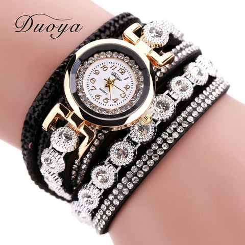 Duoya Leather Quartz Stainless Steel Quartz Wristwatches Women