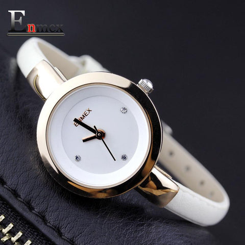 Enmex Leather Quartz Alloy Quartz Wristwatches Women Slim Strap