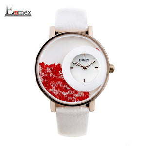 Enmex Leather Quartz Alloy Quartz Wristwatches Women Swan Lake