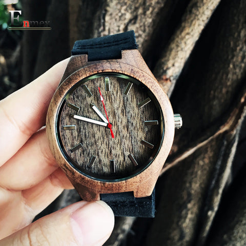 Enmex Leather Quartz Bamboo Quartz Wristwatches Men