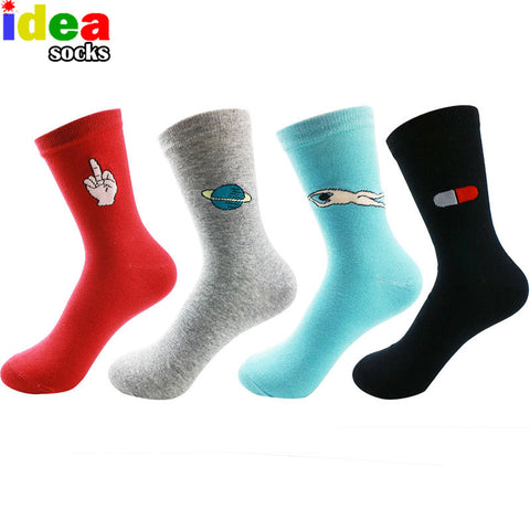 Fashion European Women Harajuku in tube socks cotton Solid color Printing Sock long Casual socks candy color 5 style