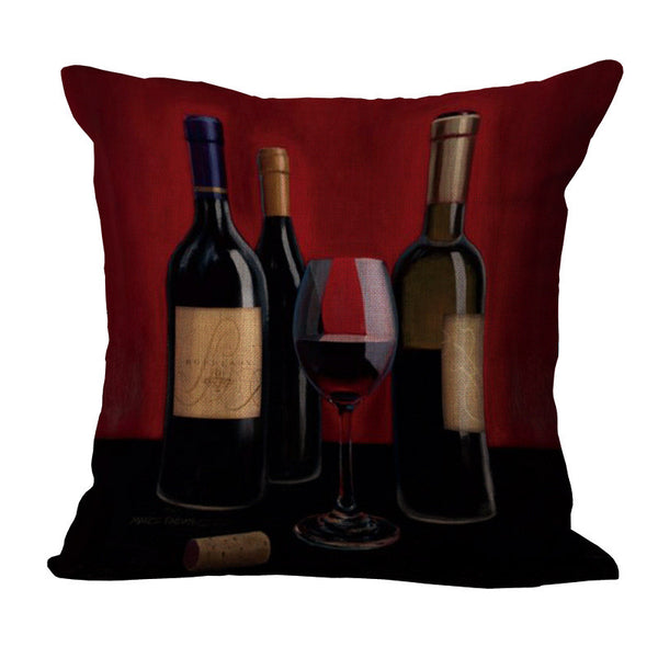 Fashion High Quality Cotton Linen Romantic red wine Elegant Woman Decorative Throw Pillow Case Cushion Cover Sofa Home Decor