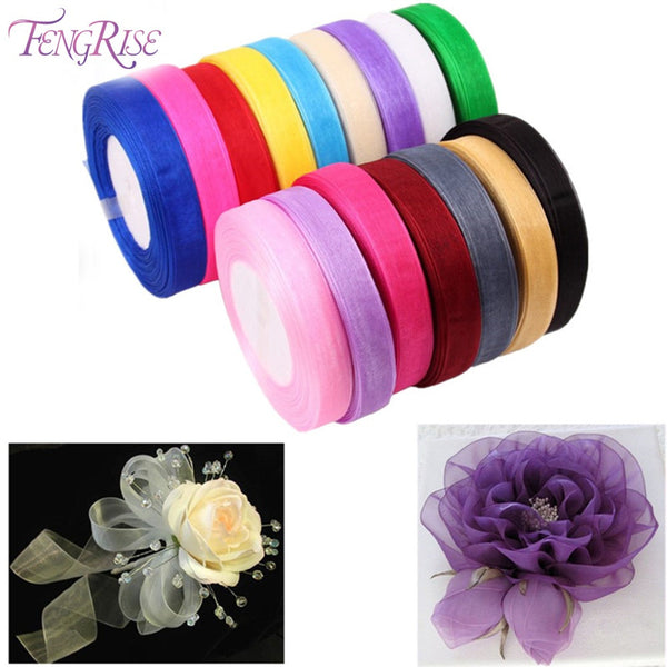 FENGRISE 10mm 45M Organza Ribbon Artificial Flowers Bouquet Decorative Tapes For Wedding Birthday Party Gift Packaging Ribbon